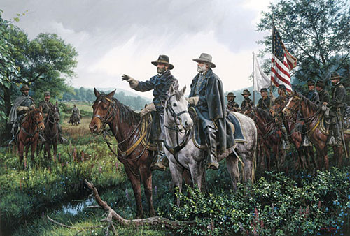 CSA Cavalry surrenders to USA Cavalry.