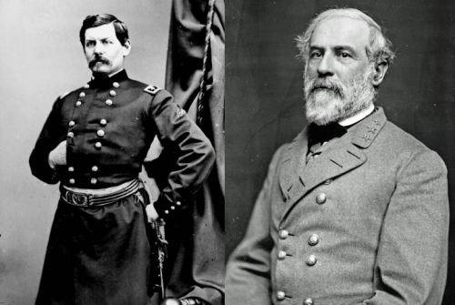 USA General McClellan and CSA General Lee, opposing commanders in the Seven Days Battles.